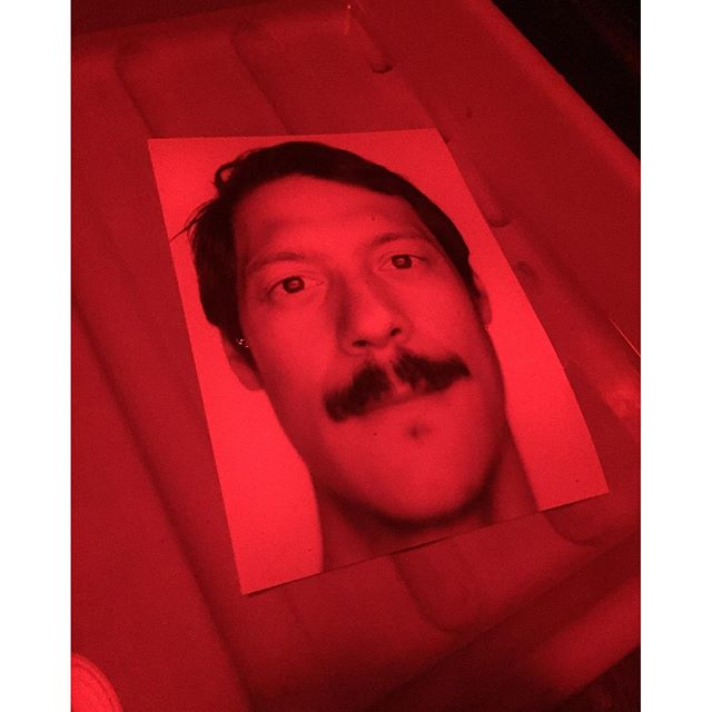 "Greetings from the darkroom. I'm printing previews of my new series with the project title ""Dear Fear"". Hello @buzzonifederico #fearistanbul #dearfear #nofear #fearyok #printinglab #darkroomstories #redlight #largeformat #analog #filmphotography"