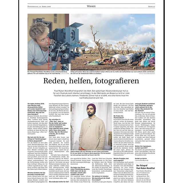 "The german newspaper Nordkurier dedicated a whole page for my impressions I took on Lesbos in my documentary series ""Over Seas"". The whole series you can see on my homepage: studio-prm.de#overseas #Lesbos #refugeecamp #nordkurier #photography"