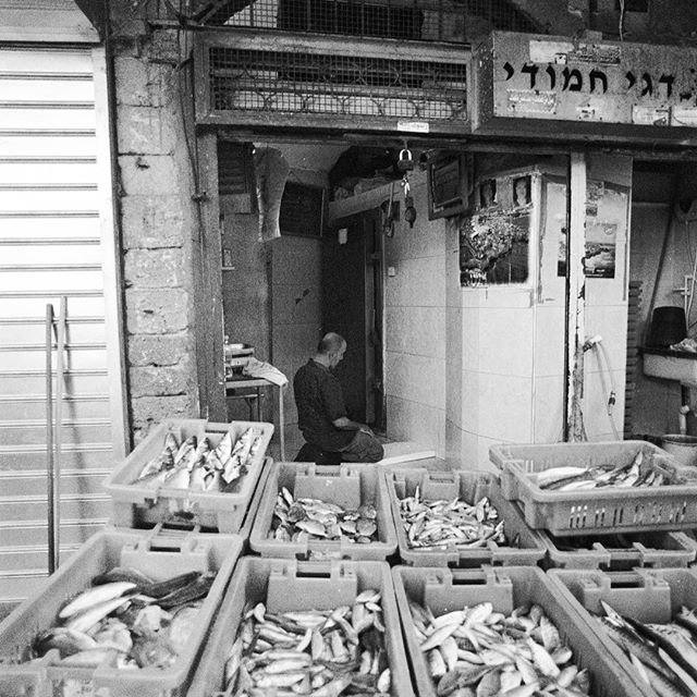 Praying fish seller, Jerusalem 2014•~~•#ishootfilm #blackandwhite #bnw #monochrome #instablackandwhite #monoart #insta_bw #bw #monotone #monochromatic #noir #fineart_photobw #sw #schwarzweiss#analogue #filmphotography #tmax #kodak #35mm #film#filmphotography #analog #35mmfilmphotography#istillshootfilm #shootfilm #buyfilmnotmegapixel#staybrokeshootfilm #rangefinder  #leicam6ttl #leica